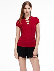 Femme lacet Tee-shirt Aux s,Couleur Pleine Décontracté/Quotidien simple Eté Manches Courtes Col en V Rouge/Noir Polyester/Spandex Fin