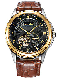 Semdu® Fashion Leather Vintage Second Hand Dial Men Wristwatch Stainless Steel Waterproof Business Watch
