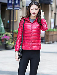Women's Solid Red / Black / Green / Purple Down Coat,Simple / Street chic / Active Hooded Long Sleeve
