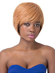 European Fashion Bob Style Short Sythetic Brown Straight Side Bang Party Wig For Women