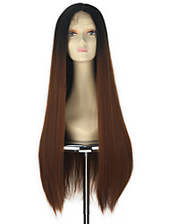 80cm Synthetic Women Long Straight Hair Ombre Black into Auburn Color Lace Front Wig Thick Hair Fashion Party Wigs