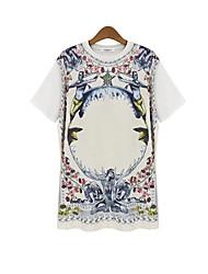 Vrouwen Vintage Zomer T-shirt,Casual/Dagelijks Bloemen Ronde hals Korte mouw Wit / Zwart Polyester Ondoorzichtig