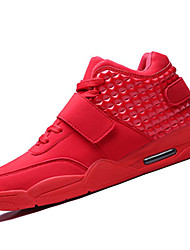 Running Shoes Men's Shoes Leatherette Casual Sneakers Casual Walking Flat Heel  / Hook & Loop Black / Red / White