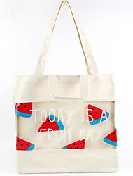 Women-Casual / Shopping-Canvas-Tote-White / Pink / Blue