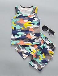 Girl's Blue Clothing Set,Print Cotton Summer