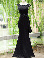 Formal Evening Dress - Open Back Trumpet / Mermaid Scoop Floor-length Lace with Lace Sash / Ribbon
