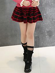 Vestido Chica de-Casual/Diario-Cuadrícula-Lana-Invierno / Primavera / Otoño-Negro / Rojo
