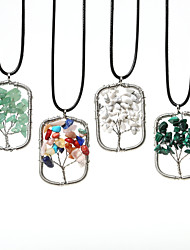 Beadia 1Pc Fashion 3.5x5cm Rectangle Shape Wisdom Tree Stone Pendant Necklace(45cm Length)