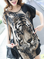 Women's Beach Vintage Summer Blouse,Animal Print Round Neck Short Sleeve Brown / Yellow Cotton / Polyester Thin