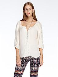 Herz Soul® Damen V-Ausschnitt 3/4 Ärmel T-Shirt Weiß / Rot / Orange-11AA20590