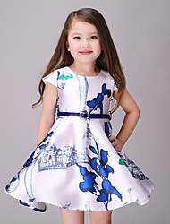 Girl's White Dress,Floral Cotton / Polyester All Seasons