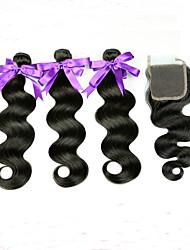 4 Peças Onda de Corpo Tramas de cabelo humano Cabelo Peruviano Tramas de cabelo humano Onda de Corpo