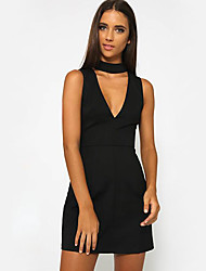 Women's Casual/Daily Sexy Sheath Dress,Solid Halter Mini Sleeveless White / Black Cotton Summer