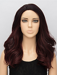 50cm Black And Burgundy Ombre Color Medium Synthetic Wigs Curly 2016 New Fashion Heat Resistant  Synthetic Party Wigs