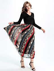 Women's Casual/Daily Simple A Line Dress,Patchwork V Neck Maxi Long Sleeve Black Silk / Others All Seasons