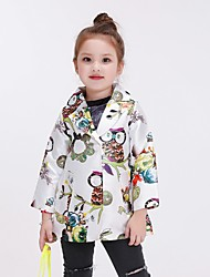 Girl's Casual/Daily Floral Jacket & Coat / Trench Coat,Polyester Spring / Fall White