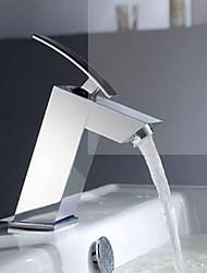 centerset única alça de um buraco na casa de banho de cromo torneira da pia