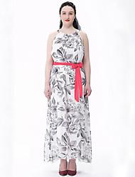 Women's Plus Size Boho Swing Dress,Print Round Neck Maxi Sleeveless White Cotton / Polyester Summer