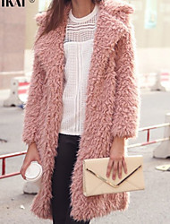Winter Women's Solid Color Multi-color Coats & Jackets , Sexy / Casual / Work Tailored Collar Long Sleeve