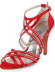 Women's Shoes Silk Stiletto Heel Heels / Peep Toe Flats Wedding / Party & Evening / Dress Blue / Yellow / Pink / Purple