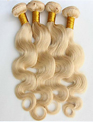 "3Pcs/Lot Bleach Blonde Body Wave 100% Brazilian Human Hair Weave Bundles 8""-34"" Color 613 Hair Extensions"