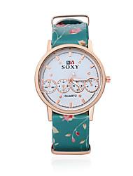 Women's Fashion Round Leather Casual Wristwatches Glass Flower Analog Quartz Watch