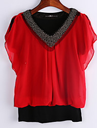 Women's Casual/Daily Simple Summer Blouse,Solid V Neck Short Sleeve Blue / Red / Black Thin