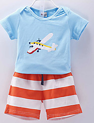 Mädchen Kleidungs Set-Lässig/Alltäglich Druck Baumwolle Sommer Blau / Gelb