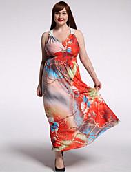Women's Beach / Plus Size Boho Dress,Floral V Neck Maxi Sleeveless Orange Polyester / Spandex Summer