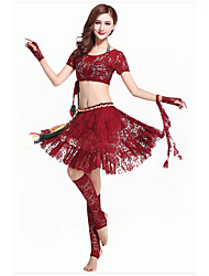 Belly Dance Outfits Women's Performance Polyester Draped 2 Pieces Black / Red Belly Dance Natural Top / Skirt
