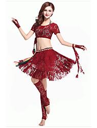Dança do Ventre Roupa Mulheres Actuação Poliéster Pano 2 Peças Preto / Vermelho Dança do Ventre Manga Curta Natural Top