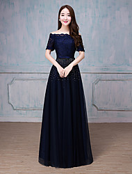 Formal Evening Dress A-line Bateau Floor-length Tulle with Beading / Ruffles