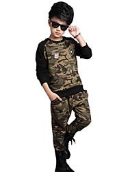 Boy's Cotton Spring/Autumn Camouflage Kids Clothing Sports Two-Piece Set
