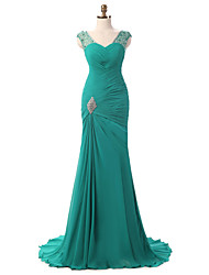 Mermaid / Trumpet V-neck Court Train Chiffon Formal Evening Dress with Side Draping Crystal Brooch Pleats by shangshangxi