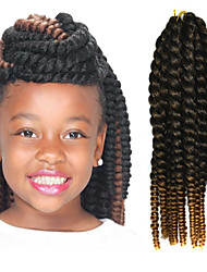 "Black Ombre Light Yellow 12"" Kid's Kanekalon Synthetic 2X Havana Mambo Twist 100g Hair Braids with Free Crochet Hook"