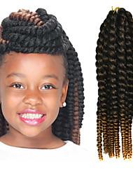 "Black Ombre Light Yellow 12"" Kid's Kanekalon Synthetic 2X Havana Mambo Twist 100g Hair Braids with Free Crochet Hook"