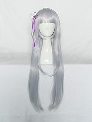 Cosplay Wigs Cosplay Cosplay Silver Long Anime Cosplay Wigs 110 CM Heat Resistant Fiber Female