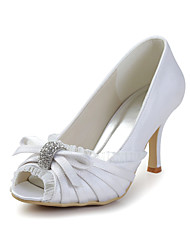 Women's Shoes Silk Spring / Summer / Fall Heels / Peep Toe Wedding / Dress / Party & Evening Stiletto HeelSparkling Glitter / Ruffles /