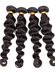"4 Pcs/Lot 8""-26"" Indian Remy Human Hair Natural Black Loose Wave Weft Hair Extensions 400G"
