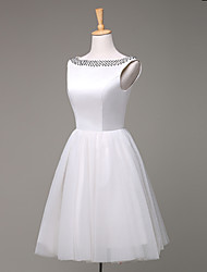 A-line Wedding Dress Knee-length Bateau Satin / Tulle with Beading