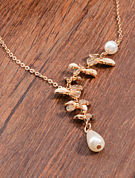 Women Fashion Elegant Alloy Orchid Small Droplets Pearl Short Necklace Fashion Jewelry 1pc