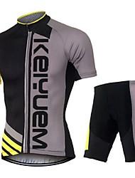 KEIYUEM Camisa com Shorts para Ciclismo Unissexo Manga Curta MotoRespirável Secagem Rápida Á Prova-de-Pó Vestível Redutor de Suor