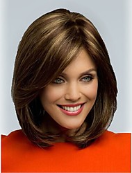 New Wig Fashion Brown With Blonde Highlights Wig New Medium Straight Hair Women's Wig