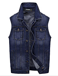 Men's Sleeveless Casual Jacket,Cotton / Polyester Patchwork Black / Blue