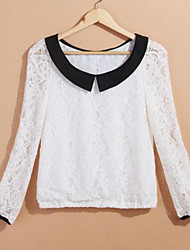 Women's White Plus Size Lace Turn Down Collar Bow Blouse