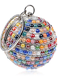L.WEST Women's The Elegant Luxury Handmade The Spherical Color Pearl Diamonds Evening Bag