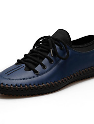 Men's Shoes Leather Wedding / Party & Evening Walking Flat Heel Lace-up Black / Blue / Brown / Yellow