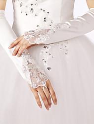 Opernlänge Ohne Finger Handschuh Spitze Polyester Brauthandschuhe Party / Abendhandschuhe Frühling Sommer Herbst WinterStickerei Strass