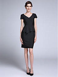 Lanting Bride® Sheath / Column Mother of the Bride Dress Knee-length Short Sleeve Chiffon with