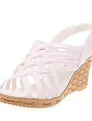 Damen Sandalen PU Sommer Normal Keilabsatz Weiß Schwarz Beige 5 - 7 cm